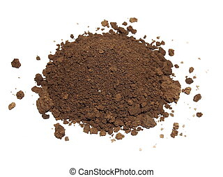 Pile of soil isolated on white