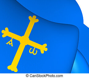 Principality of Asturias Flag, Spain. Close Up.