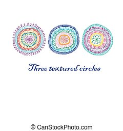 Three doodle circles background.