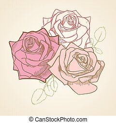Roses In Vintage Colors Background.