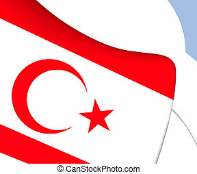 Turkish Republic of Northern Cyprus Flag. Close Up.
