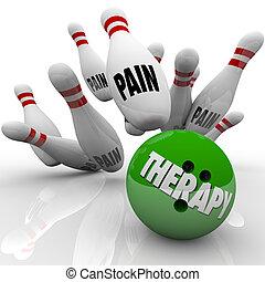 bola, dor, Ajuda, golpear, médico, vs, terapia, boliche,...