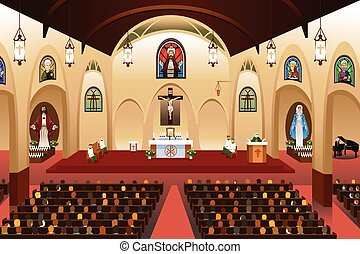 Pastor giving a sermon at a church - A vector illustration...