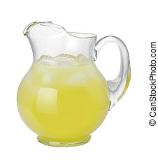 Lemonade Pitcher with a clipping path isolated on white.
