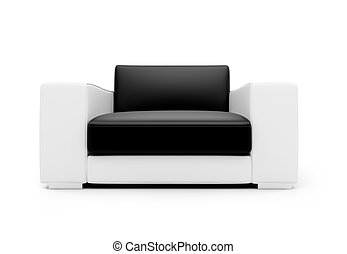 Black and white color armchair isolated view - isolated...