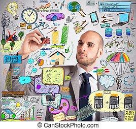 Ecological improvement plan - Businessman design an...