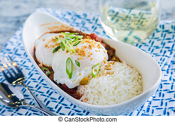 Venison Chili Loco Moco - Loco Moco with venison chili, rice...