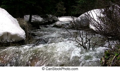 (Seamless Loop) Snowmelt Creek Over - The mountain snowmelt...