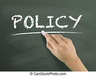 policy word written by hand on blackboard