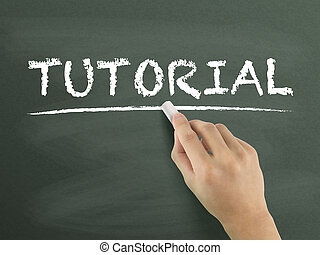 tutorial word written by hand on blackboard