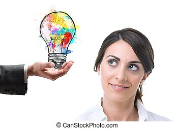 Bright idea colleague - Colleague at work suggests a bright...