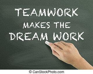 teamwork makes the dream work written by hand