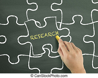research word written on puzzle piece by hand