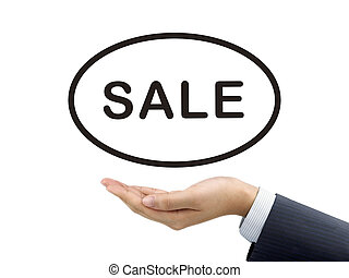 sale word holding by businessmans hand over white background...