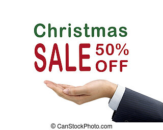 Christmas sale 50 percent off holding by businessmans hand...