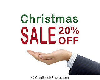 Christmas sale 20 percent off holding by businessman's hand...