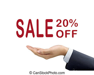 sale 20 percent off holding by businessman's hand over white...