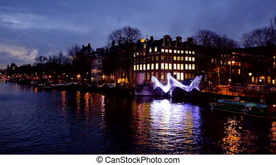 Amsterdam Netherlands by night
