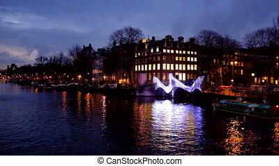 Amsterdam Netherlands by night