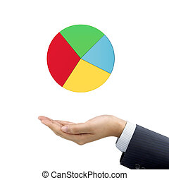 businessmans hand holding business pie chart over white...