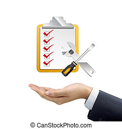 businessmans hand holding clipboard over white background