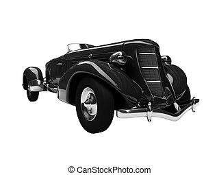 isolated retro black car front view 02