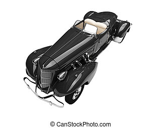 isolated retro black car front view 04