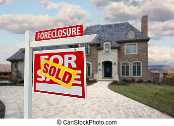 Sold Foreclosure Home For Sale Sign and House with Dramatic...