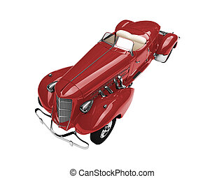 isolated vintage red car front view