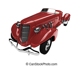 solated vintage red car front view - isolated vintage car on...