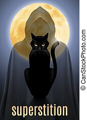 Black cat sitting on a background of the full moon and the...