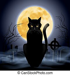 Black cat sitting on a background of the full moon in the...