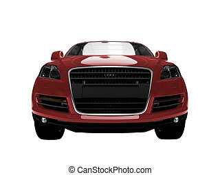 isolated red car front view 01