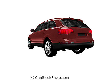 isolated red car back view 01 - red car on a white...
