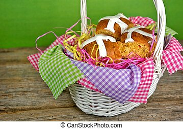 Hot cross buns in basket - Homemade Easter hot cross buns in...