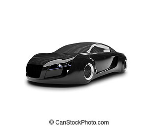 isolated black super car front view 02 - black car on a...