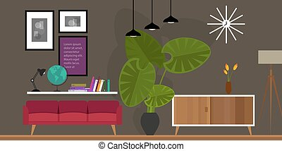living room home interior vector illustration - living room...