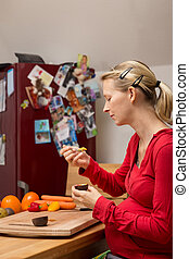 concept: balanced diet about pregnant women with organic...