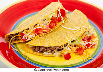 Two tacos on a red plate