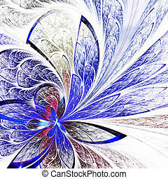 Beautiful flower pattern in stained-glass window style Blue...