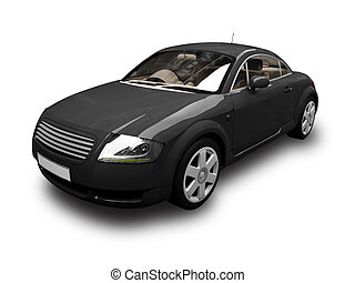 isolated black sport car front view 02