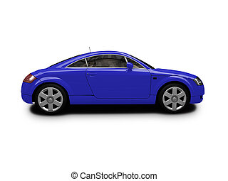 isolated blue car side view