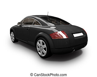 isolated sport black car back view - isolated black sport...