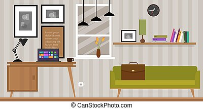 home interior work space table and sofa in vector...
