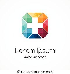 Positivo, sinal, logotipo, template., médico,...