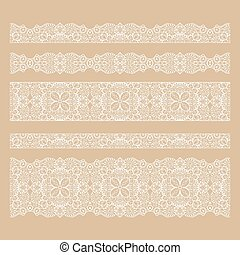 Set of seamless lace borders with transparent background,...