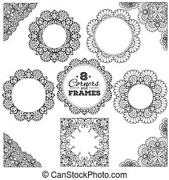 Set of lace frames and corners with transparent background....
