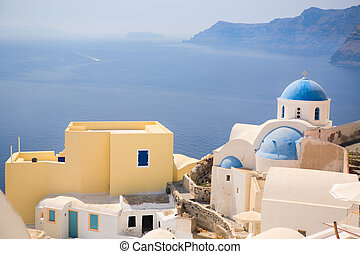 Santorini Church - Blue domed church in Oia overlooks the...