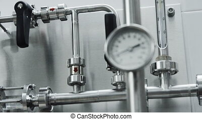 pipe pressure-gauge manometr in the lab - pipe with...