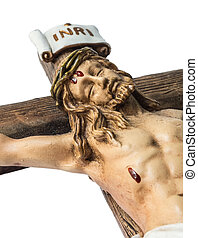 jesus christ on the cross - closeup of jesus crucified on...